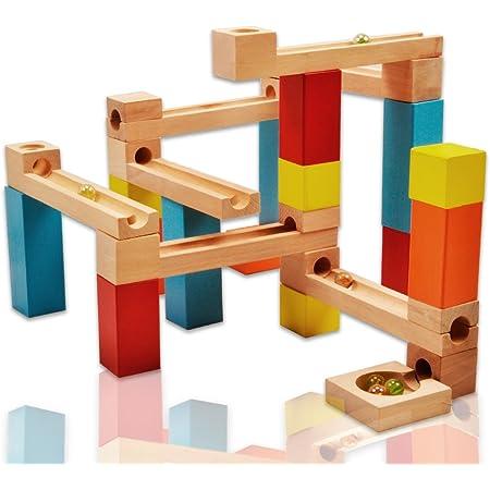 積み木 ビー玉転がし おもちゃ ブロック おもちゃ 木製おもちゃ ビーズコースター つみき 木製 スロープ 知育 玩具 収納袋付き 立体パズル 男の子 女の子 誕生日 クリスマス 新年 ギフト プレゼント 33点セット Wishtime