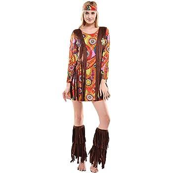 Smiffys Disfraz de hippie para mujer, talla UK 12-14 (20479M ...