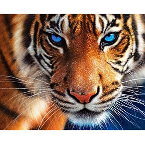 DIY 5D Diamond Painting Kit by Number Kit, Tiger Full Drill Embroidery Cross Stitch Arts Craft for Home Wall Decor 11.8x13.8 inch