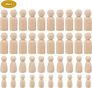 WOWOSS 40 Pcs Unfinished Wooden Peg Dolls People Bodies, Natural Decorative Wood Shapes Figures for Painting, Craft Art Projects, Peg Game, 3 Assorted Shapes