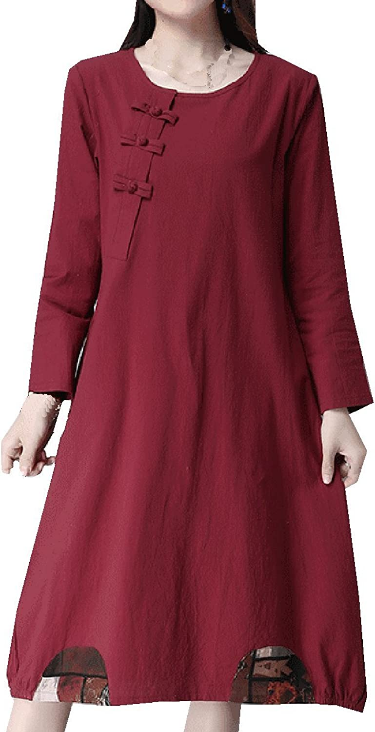 National Wind Linen Large Size Ladies Long Sleeves Loose Was Thin Dress,RedM