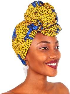 Traditional African Bazin Riche Wax Print Head Wrap Headtie Headwear Nigerian Scarf Gele for Women