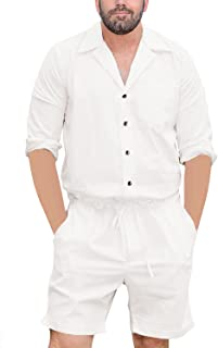 Mens Rompers Jumpsuits One Piece Long Sleeve Shirt Drawstring Shorts Casual Plain Coverall with Pockets
