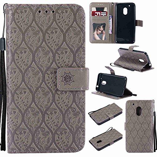 pinlu® PU Leder Tasche Handyhülle Für Lenovo Moto G4 Play (5.0 Zoll) Smartphone Wallet Hülle Mit Standfunktion & Kartenfach Design Rattan Blume Prägung Grau
