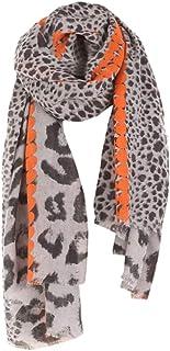 437d7adfa6068 OSYARD Écharpe Leopard Femme Coton Lin Etole Longue Foulards Tassel Automne Hiver  Châles 185   95cm