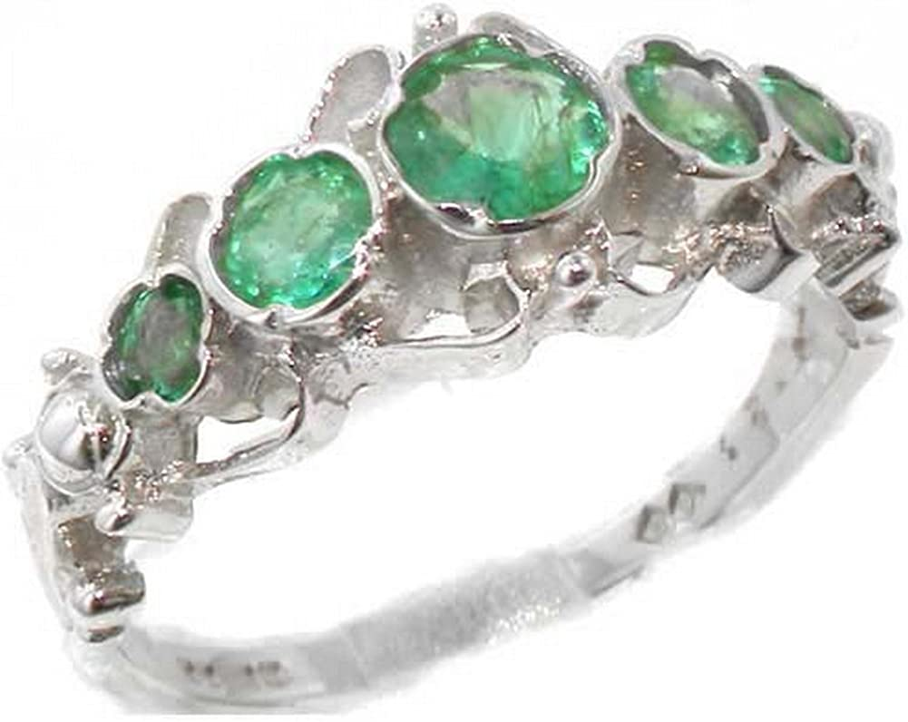 925 Las Vegas Mall Sterling Silver Real Genuine Popular product Ring Womens Band Emerald