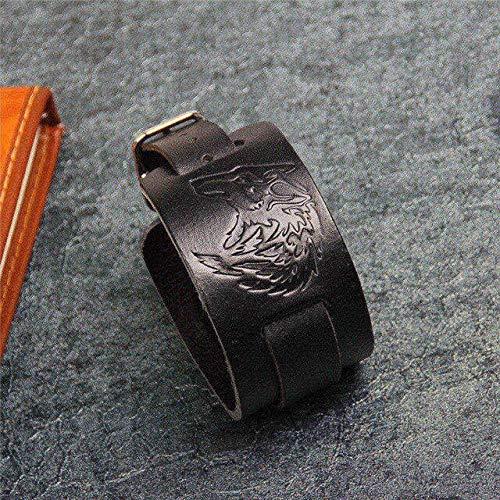 RJGOPL Schwarz & Kaffee Punk Style Wolf KopfLeder Armband MitSchnalle Verstellbare Mode Damen & Herren Armbänder SchmuckSchwarz