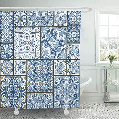 COFEIYISI Duschvorhänge Majolika Keramik Blau & Weiß Azulejo Original Traditionelles Portugiesisches Spanien Patchwork Viktorianisch Wasserdicht Bad Vorhang Polyester Stoff mit 12 Haken 180x180 cm
