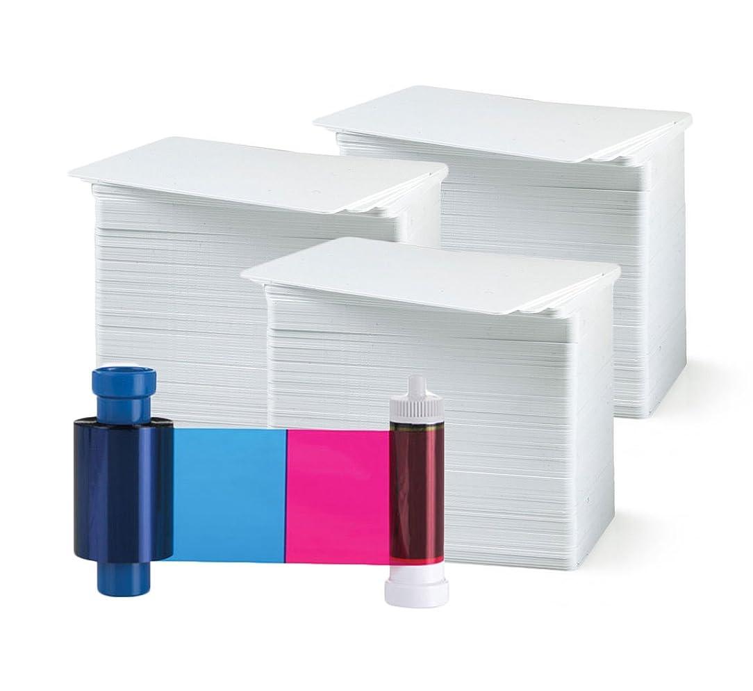 Magicard MA300YMCKO Color Ribbon - YMCKO - 300 Prints with Bodno Premium CR80 30 Mil Graphic Quality PVC Cards - Qty 300