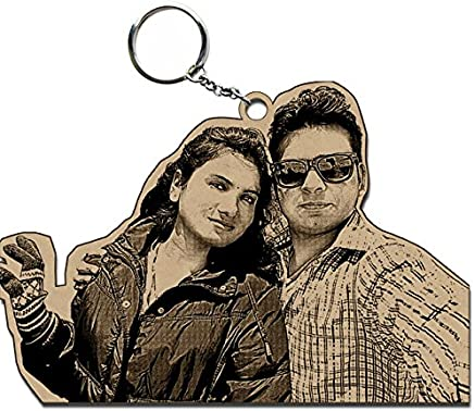 Incredible Gifts India Wooden Personalized Photo Keyring (Brown)