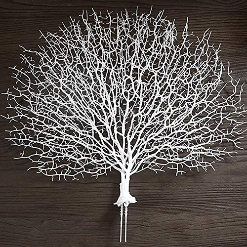 Simulation Coral Branch for Fish Tank Ornaments,2 Pack Fan-Shaped Sea Coral Dried Branch for Wedding Party Hotel Aquarium Decor, Silver