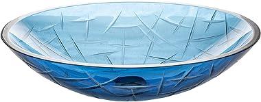 Eden Bath Blue Crystal Cut Oval Glass Bathroom Vessel Sink