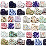 ZAZA One Size Baby Washable Reusable Pocket Cloth Diapers, 6 Pack with 6 One Size Microfiber Inserts (Random Color)