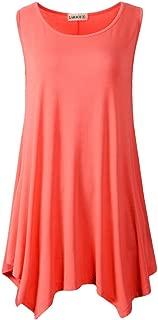 LARACE Lanmo Women Plus Size Solid Basic Flowy Tank Tops Summer Sleeveless Tunic (3X, Watermelon)