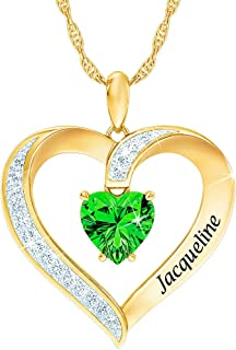 Personalized Birthstone Heart Pendant – Personalized...