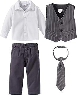 Bornino Festliche Mode-Set 4-TLG. für Jungen - Anzug mit Weste, Hemd, elastischer Hose & weitenverstellbarer Krawatte - grau/weiß/anthrazit