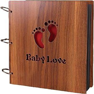 BEST-ENCOUNTER 12inch Wood Vintage Hollowed Photo Image Album Scrapbook Memory Within Corner Sticker (Wood Baby Love)