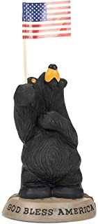 Bearfoots God Bless America Black Bear Holding US Flag Figurine 3005080226 New