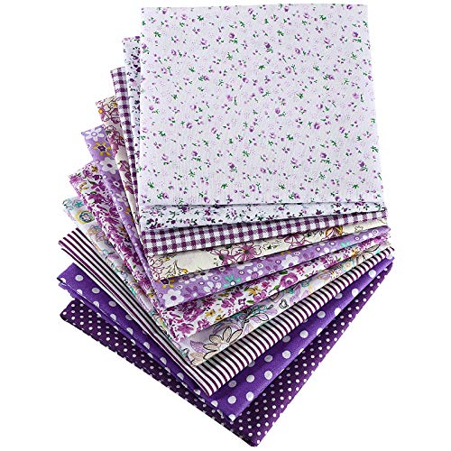 10 Pieces 20 x 20 Inch Quilting Patchwork Fabric Floral Patchwork Purple Fabric DIY Handmade Sewing Quilting Fabric in Different Designs for DIY Crafts Projects Supplies