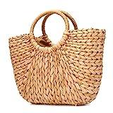 JOSEKO Bolso de playa de verano, bolso de mujer tejido de paja, bolso de rafia, bolso de playa, bolso de compras para viajes diarios (color natural)