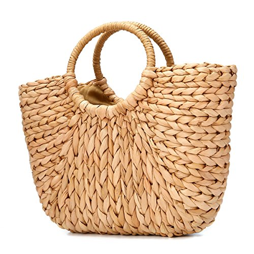 JOSEKO Sommer Strand Tasche, Damen Stroh Handtasche Sommer Korbtasche Basttasche Strand Schultertasche Einkaufstasche für Reise Täglicher Gebrauch(Natürliche Farbe)