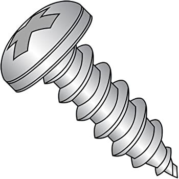 1 Length #6-20 Thread Size Phillips Drive Plain Finish 18-8 Stainless Steel Sheet Metal Screw Pack of 50 Pan Head Type AB