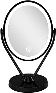 LED Lighted Makeup Vanity Mirror Rechargeable, 1x / 7x Magnification Double Sided Magnifying Mirror with Dimmable Touch Sc...