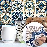 Enipate 10 adesivi adesivi per piastrelle da 20 x 20 cm, stile marocchino Peel & Stick da parete autoadesivi Splashback per soggiorno, cucina, bagno, decorazione fai da te 20 x 20 cm