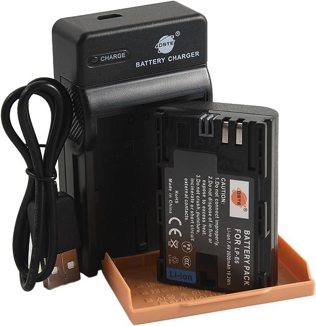 DSTE LP-E6 Li-ion Batería Traje y cargador micro USB para Canon EOS 5D Mark II III 5DS 5DS R 6D 7D 60D 60Da 70D 7D Mark II III