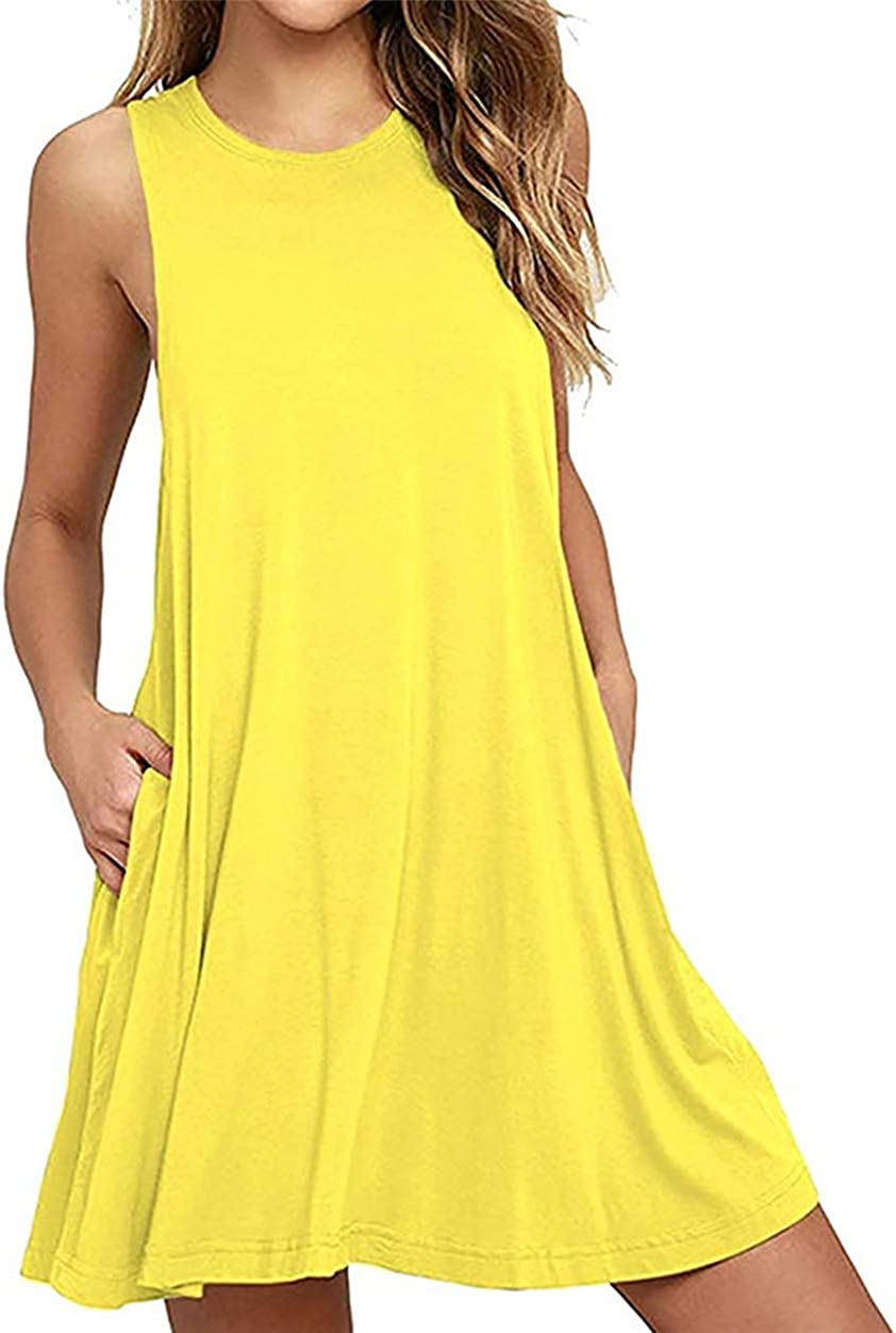 ZICUE Womens Sleeveless Vintage Beach Dress T Shirt Solid Color Summer Sundress with Pockets Plus Size