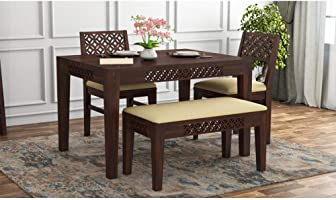 AASALIYA Wooden Solid Sheesham Wood Dining Table 4 Seater | Dining Table Set with 2 Chairs & 1 Bench | Home Dining Room...