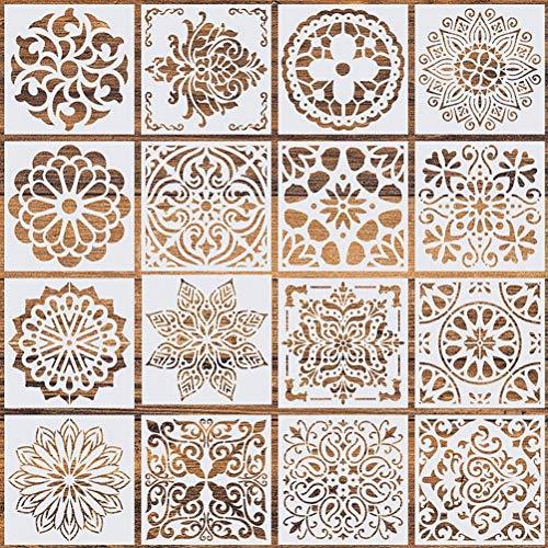Xstar 16er Pack Mandala Schablonen, Laser Cut Wiederverwendbare Malschablonen Mandala Dotting Malvorlage Basteln Fliesen Schablonen Werkzeug für DIY Wände Kunst Sammelalbum (5,9 x 5,9 Zoll)