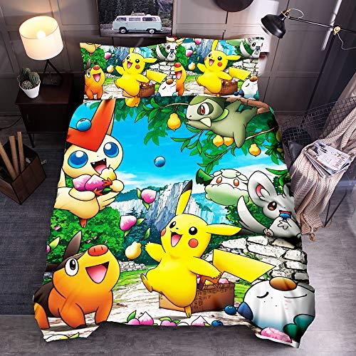 Pokemon Copripiumino 3D Anime Pikachu Cartoon Set di biancheria da letto per bambini 2 pezzi, copripiumino per bambini in ultra morbida con 1 federe (05, singolo 135 x 200 cm)