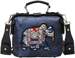 Buhui - Borsa a tracolla da donna, in pelle sintetica, da donna, a spalla piccola, con elefante, ricamo, in stile vintage