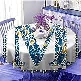 Letter M - Mantel redondo de poliéster, color azul, con letras mayúsculas y flores exóticas en estilo vintage, para fiestas, diámetro de 129,5 cm, color azul, amarillo y naranja