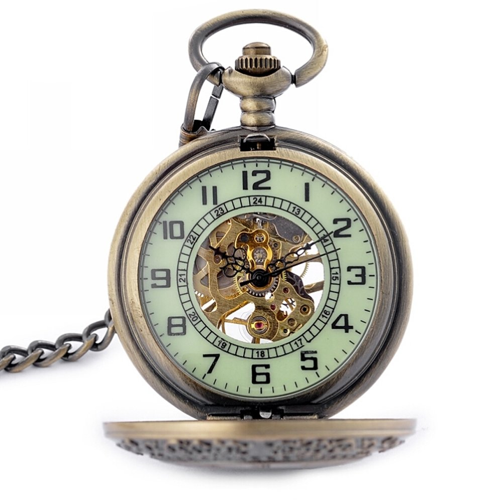 Luminous Dial For Dark Area Mens Bronze Mechanical Hand Winding Pocket Watch