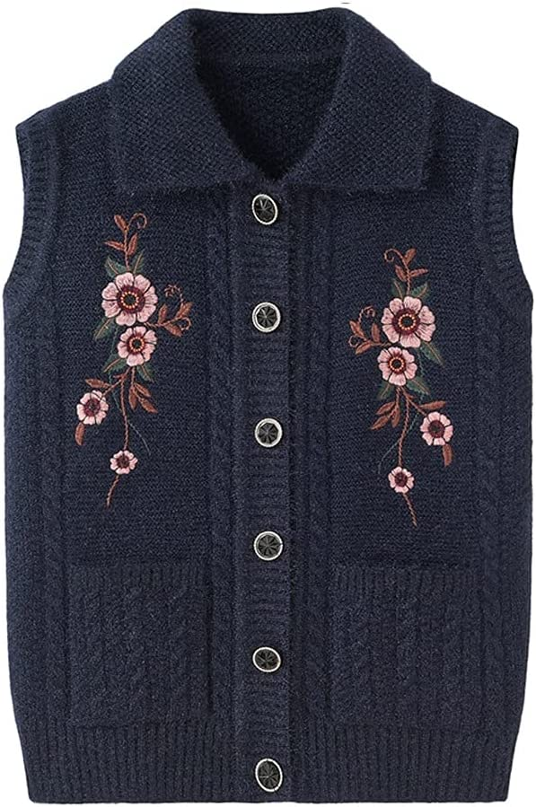 SSMDYLYM Winter Autumn Wool V-Neck Sweater Vest Women's Sweater Women Tank Top Sweater Women Knitted Warm Vintage Sweater Casual Tops (Color : Navy Blue, Size : 3XL Code)