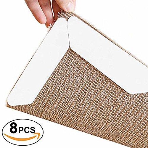 MNNE Teppich Anti-Rutsch-Matten-waschbare Teppich Corner Anti-Rutsch-Teppich-Plug Wiederverwendbare Anti-Rutsch-Teppich Schutz Beidseitige super klebrige und leicht zu entfernen (8 Stück) White