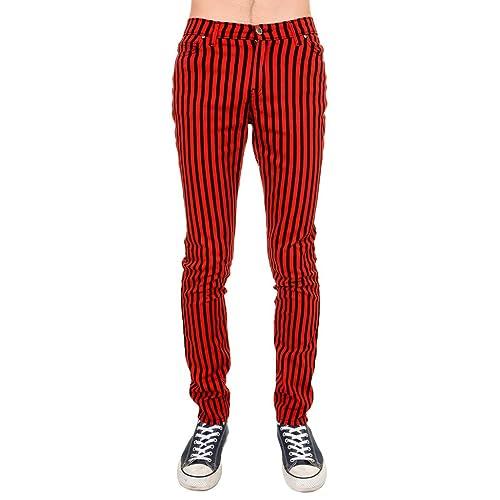 7b387b3f3f5db2 Run & Fly Mens Indie Vintage Retro 60s 70s Mod Black Red Striped Stretch  Skinny Jeans