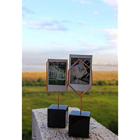 Decort- House Hold Decorations Polaroid Durable Metal Desk Photo Frames with Wooden Base for Home Decor (7 in x 2 in Each, Rose Gold) - Set of Two