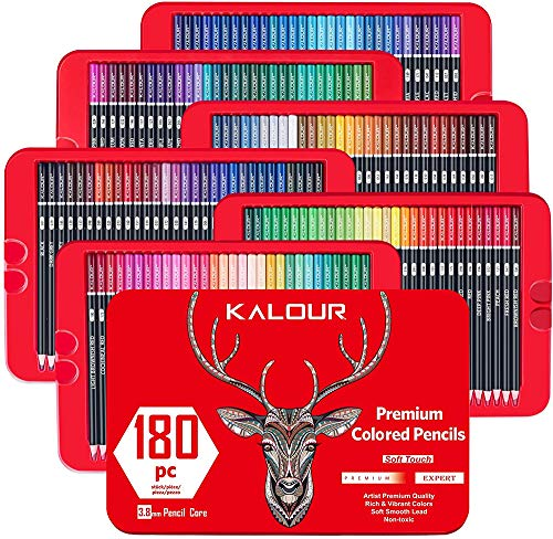 180 Colored Pencil Set for Adults Artists - 3.8mm Rich Pigment Soft Core - Wax-Based - Ideal for Coloring Books Drawing Sketching Shading Blending - Vibrant Color Pencil in Tin Box