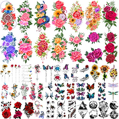 Yazhiji 49 Sheets Temporary Tattoos for Women and Men 3D Extra Large Waterproof Sexy Flowers Fake Tattoo Kits