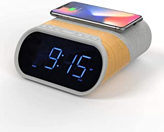 Digital Alarm Clock Radio, Bedside Clock Bluetooth Speaker 10W Stereo Sound with Fast Qi Wireless Charging, 2 USB Ports, D...