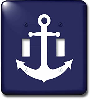3dRose lsp_165798_2 Navy Blue and White Nautical Anchor Design Light Switch Cover