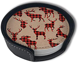 LKJDAD Moose Clipart Plaid Premium PU Leather Coasters, Drink Round Coasters with Holder Sets, Suitable for Home and Kitchen(6PCS)