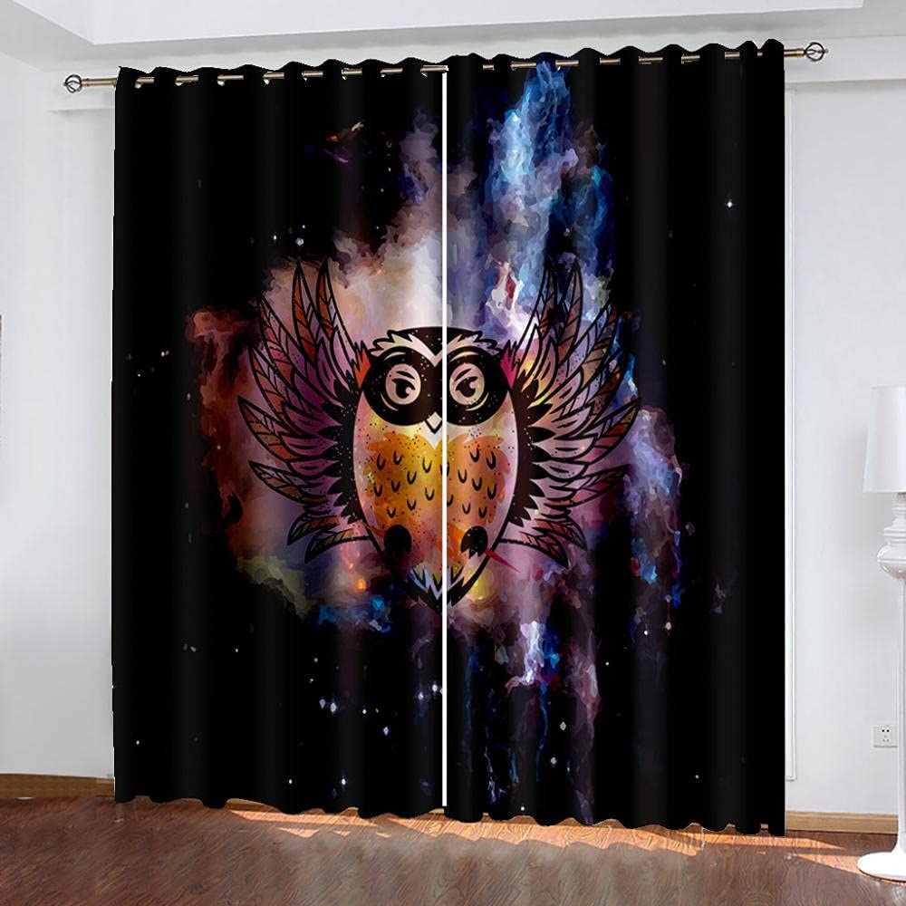 Bedroom Thermal Insulated Curtains Owl Indefinitely 3D Sky Starry Cheap mail order sales Polyester F