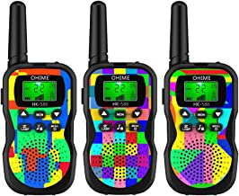Ohime Kids Walkie Talkies,Cover 3 Miles Range with Backlit LCD Flashlight 22 Channels 2 Way Radio Toy Outdoor Adventures, Camping, Hiking,Party (3Pack NewColour)