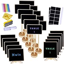 Supla 20 Pcs 3 Style Mini Chalkboard Tabletop Signs with Stand Place Holders Candy Food Dessert Markers Table Setting Signs Party Wedding Message Memo Board Buffet Table Number Name Plant Signs