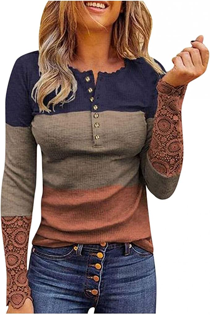 Sweaters for Women,Long Sleeve Tops Button Down Lace Sleeve Ribbed Knit Top Leopard Color Block Shirt V Neck Blouses