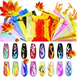 Flame Reflections Nail Stickers - 16PCS Holographic Fire Flame Nail Art Decals Nail Stencil for Nails Manicure, Maples DIY Nail Foils Tape Adhesive Decoration by DR.MODE